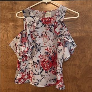 Ruffle floral shoulder cut out blouse